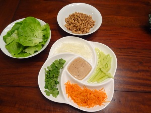 Spicy Thai Lettuce Wraps w/ Spicy Peanut Sauce